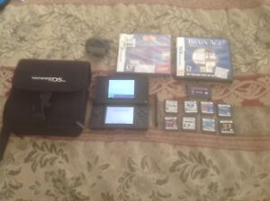 Nintendo ds lite red w/ 11 games and case lot