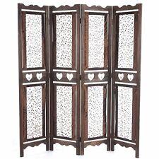 Separè paravento 4 pannelli decorativo in legno marrone