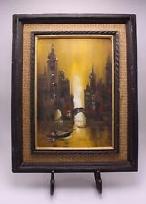 Impressionism Vtg Impasto Oil Canvas Painting Venice Canal Scene Signed SmH ? Su