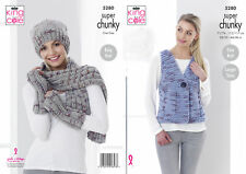 acd01af24079d0 Ladies Waistcoat Hat Scarf Gloves Knitting Pattern Super Chunky King Cole  5280