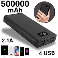 4 USB Charger LCD Digital Mobile Power Bank 500,000mAh LED External Battery Pack