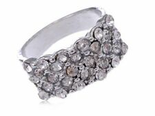 Simple Silver Alloy Ring Finger Band Encrusted with Clear Rhinestones Jewelry