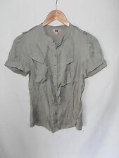 CUE, SIZE 6, GREY, TIERED FRONT DETAIL, BUTTON FRONT, CAREER SHIRT/BLOUSE