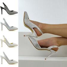 Para mujeres Zapatos De Novia Diamante Señoras Charol Fiesta Baile de Graduación Satén Point Toe tribunales