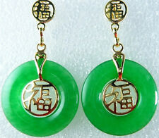 Green Jade Yellow Gold Plated Fortune Round Stud Dangle Earrings