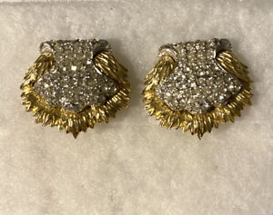 Vintage Ledo Gold Tone & Rhinestone Clip on Earrings