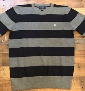 Polo Ralph Lauren Boys Striped Sweater Navy / Grey Size Large (14-16)