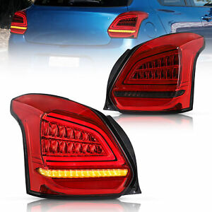 VLAND LED Tail Lights For 2017-2019 2018 SUZUKI SWIFT Red Smoked Pair Left*Right