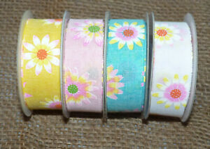 1M DAISY PATTERN BURLAP RIBBON- 25MM -PINK,YELLOW, BLUE, WHITE #EASTER CRAFT