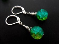 A PAIR  TIBETAN SILVER BLUE/GREEN CRACKLE GLASS BEAD  LEVERBACK HOOK EARRINGS.
