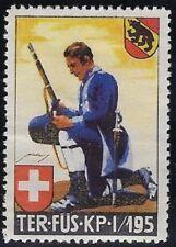 Switzerland Soldier stamp: Terr.Troop, Ter #349 Ovpt: Ter.Fus.Kp.I/195 - sw741b