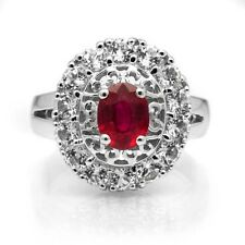 8x6mm Natural Rich Red Ruby Ring With White Topaz in 925 Silver