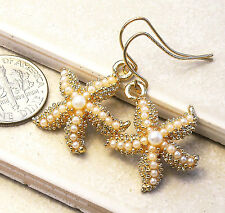 Starfish Seed Pearls Pierced Earrings Gold tone 1.3 in. Beach Wedding FREE SHIP