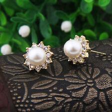 1Pair Crystal Rhinestone Jewelry Women Lady Pearl Ear Stud Earrings New Fashion