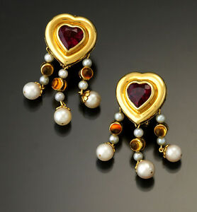 Bold Pink Tourmaline, Citrine and Pearl Heart Chandelier Earrings