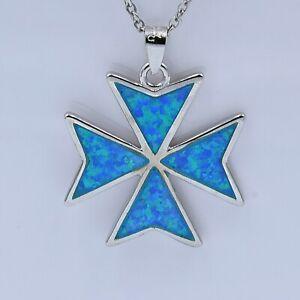 Malta MALTESE CROSS Jewelry Solid Sterling Silver 925 Blue Fire Opal Pendant Box