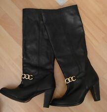 Faith Black Gold Chain Soft Leather Knee High Boots Block Heels Warm Lined UK 7