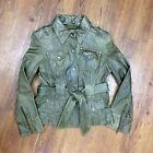 Wilsons Women's Size Medium Dark Green Leather Belted Moto Snap Button Jacket
