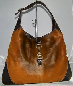 Authentic  GUCCI  BROWN PONY HAIR JACKIE O BOUVIER LARGE HOBO BAG