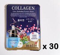 30pcs Korea Beauty Cosmetic [Malie] COLLAGEN Face Mask Pack Sheet 0.88oz 25g