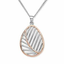 Purity 925 Sterling Silver Rose Gold Plated Open Leaf Design Pendant Necklace