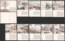 GENOVA CITTÀ 436 SERIE di 10 CARTOLINE Illustratore A. GIANNELLI