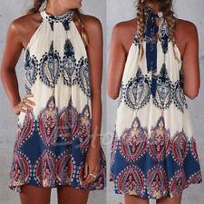 Boho Floral Womens Casual Sleeveless Short Dress Party Summer Beach Mini Dress
