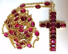 24.70ct Natural Ruby Cross Necklace & Yard 18kt Rosary Prayer Novena