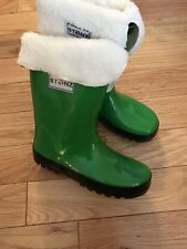 New Stonz Green Rainboots Kids 4 New Fleece Removable Liner, Rain,warm, Traction