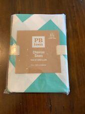 Pottery Barn Teen Teal White Euro Size Pillow Case Sham Chevron Cotton