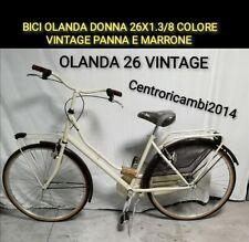 Bici da donna olanda 26x1.3/8 trekking city bike vintage Panna Marrone
