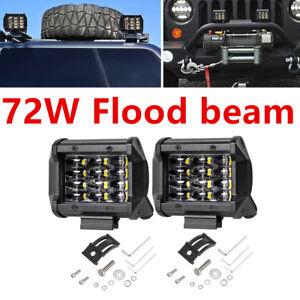 4inch 72W Quad Row LED Pods Flood Beam For ATV SUV Work Driving Fog Lights