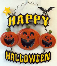 "Happy Halloween Jack O Lanterns Bat Metal Sign Wall Decor 12x12"" NWT"