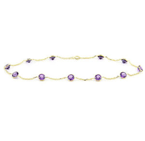 14K Yellow Gold Gemstone Anklet With Round Shape Amethysts 9 Inches