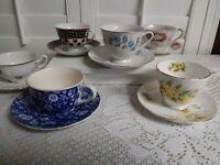 Lot of  6 Various Design Tea Cup and Saucer sets.