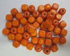 50 Wooden Beads 6mm Cube Wood Bead Orange For Beading & Craft WB605