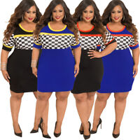 Sexy Womens Casual Dress Plus Size Midi Skirt Bodycon Short Sleeve Costume Grid