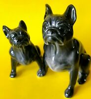 French bulldog black color small figurines porcelain collection of 2 dogs