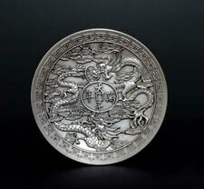 Antique Chinese Carved Dragon Silver dish with Qianlong Marked