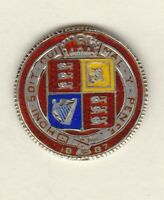 1887 DAMAGED VICTORIAN RED ENAMELLED SHILLING IN GOOD FINE CONDITION.