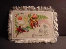 Vintage Victorian Silk-Fringed, Double-Sided CHRISTMAS Card w/Florals: Roses