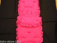 BEAUTIFUL. PRAM  COSYTOES  / FOOTMUFF  COLOUR  SHOCKING  PINK  WITH  BOWS