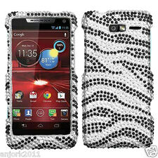 MOTOROLA Droid Razr M xt907 DIAMOND SNAP-ON HARD CASE COVER ACCESSORY ZEBRA