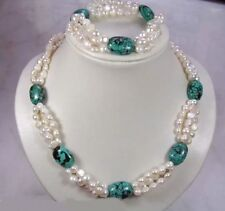 Genuine natural white FW pearl green turquoise gems necklace bracelet set 7.5''