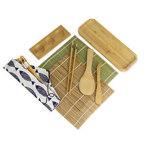 Bamboo Sushi Kit 11 Piece Rolling Mat Chopsticks Sauce Dish Paddle Spreader M&W