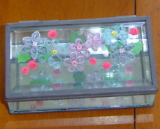 Handcrafted Jewelry box- Pale Flowers, Paper Quill and Glass New