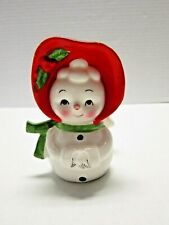 Euc Vintage Lefton Snowman Snowwoman Red Hat Napkin Card Holder Japan Christmas