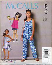 MCCALL'S SEWING PATTERN 7151 GIRLS/TEENS/TWEENS 7-14  DRESS TOP SHORTS JUMPSUIT