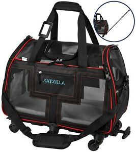 Katziela Airline Approved Pet Carrier - Rolling Portable Travel Carry Crate