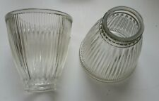 Vintage 2 Clear Ribbed Bell Glass Lamp Ceiling Fan Light Globes Shades (a68)
